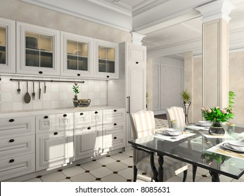 Kitchen with the classic furniture. 3D render. Illustration