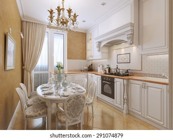 Kitchen in classical style with a dining table. The white and orange tones. 3D render.