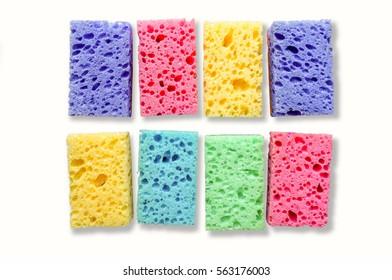 Kitchen cleaning set sponge background isolated over white