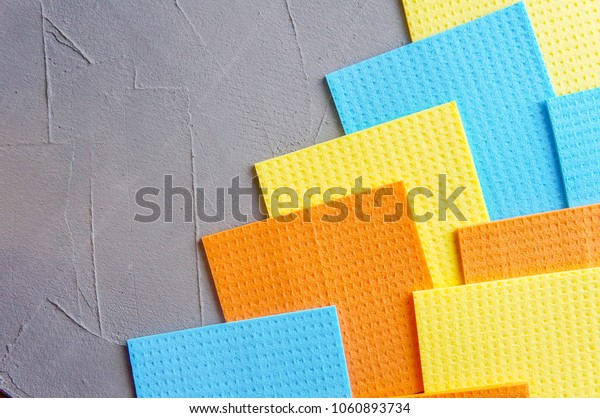 Kitchen cleaning set sponge background