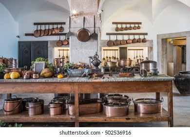 kitchen copper utensil - interior of National Palace of Sintra, Portugal