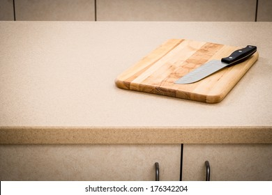 Kitchen Counter with Cutting Board and Knife