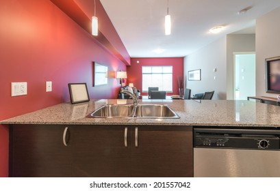 Kitchen counter with marble top and living site at the back. Interior design.