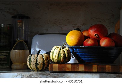 Kitchen Counter Still Life with veggies and fruit