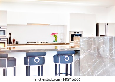 kitchen counter with stoves and flowering plants beside the pantry cupboard ovens and fridge, the white walls are surrounded the kitchen