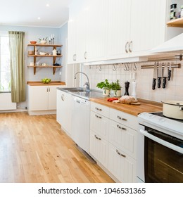 kitchen counter top and cupboards in stylish kitchen