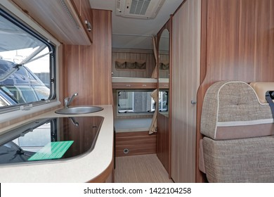Kitchen Counter in Wooden Camping Van Interior
