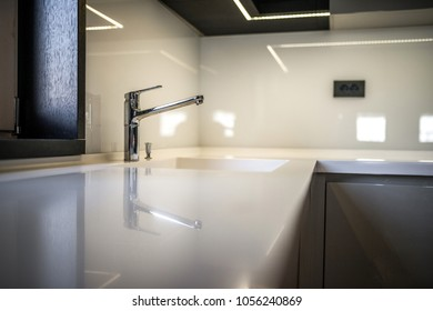Kitchen countertop in modern apartment