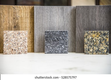 Kitchen countertops samples made of marble, granite and quartz slabs