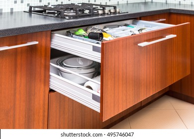 Kitchen cupboard with opened drawer and inner drawer inside