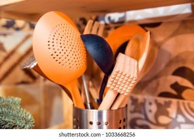 Kitchen cutlery kept in metal box