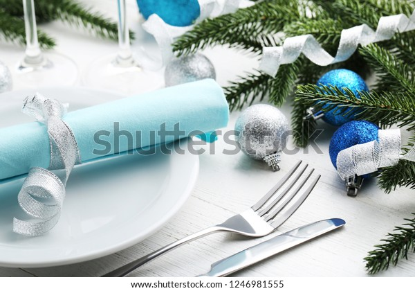 Kitchen Cutlery Plate Christmas Decorations On Stock Photo Edit Now 1246981555