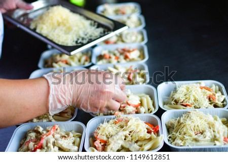 Kitchen Delivery Dietary Lunch Basil Tomato Stock Photo ...