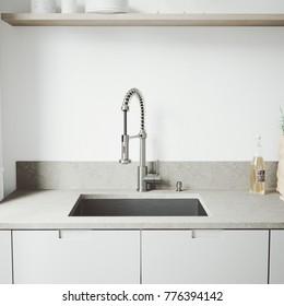 Kitchen Designer Tap with Washbasin in White Background
