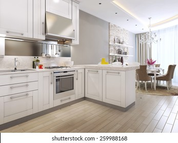 kitchen diner in neoclassical style, 3d images