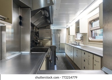 The kitchen in the dining car