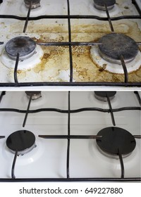 Kitchen dirty and clean gas cooker with burners close up before and after