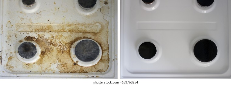 Kitchen dirty and clean gas stove close up, before and after collage