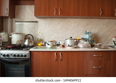 kitchen and dishes with appliances on the countertop