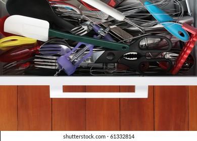 Kitchen Drawer Crammed Full of Utensils