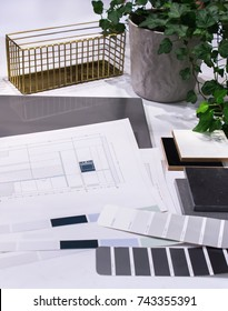 Kitchen Drawings And Design On A Table At Office. NCS Catalog For Color  Selection.