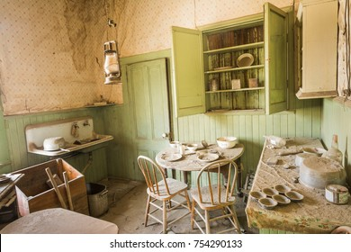 Kitchen in an early 1900's house in Bodie State Park, A ghost town that was a wild west mining town.