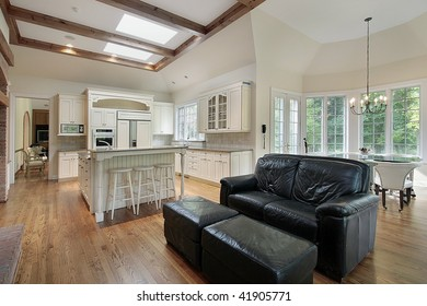 Kitchen and eating area of luxury home