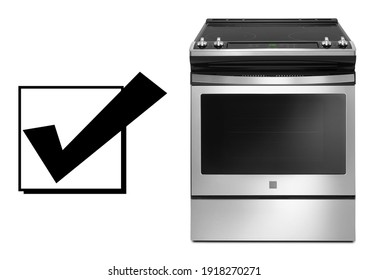 Kitchen Electric Stove Isolated on White. Front View Induction Range Cooker in Stainless Steel. Electric Range Cooker with Warming Drawer and Four Burner Induction Cooktop. Major Domestic Appliances - Shutterstock ID 1918270271