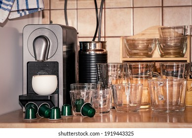 Kitchen equipment, coffee maker and coffee cups, retro atmosphere