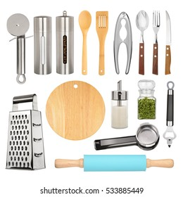 Kitchen equipment and cutlery collection isolated on white background