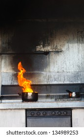Kitchen fire in pot. Concept photo of Unattended cooking, risk of fire, fire kitchen and danger at home, risk  prevention, cooking safety and home accidents.No people. Copy space