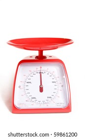 kitchen food scale on white background
