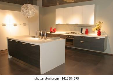 Kitchen furniture. Kitchen. Furniture exhibition. Furniture store