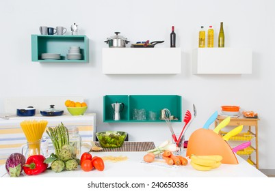 A kitchen with healthy food and a lot of utensils