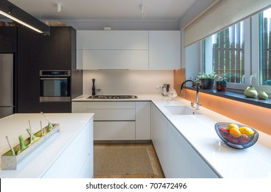 Kitchen in the house. Modern interior. Domestic things.