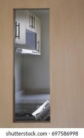 Kitchen inside an apartment