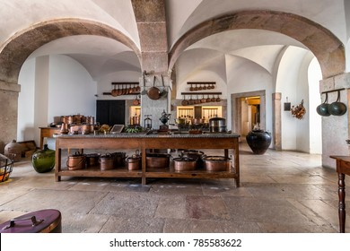 kitchen inside the Romanticist Pena Palace  in Sintra, Portugal December 2017