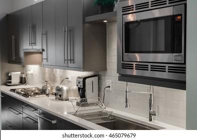 Kitchen interior with appliances