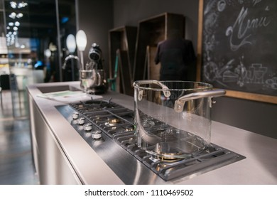 Kitchen interior design with glass pot