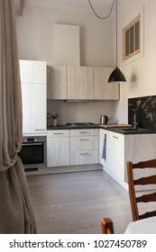 Kitchen interior design in the modern apartment
