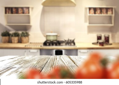 Kitchen interior with free space on wooden table for your decoration