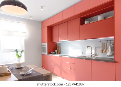 Kitchen interior in light colors. Scandinavian style. . Color of the year 2019 living coral. banner
