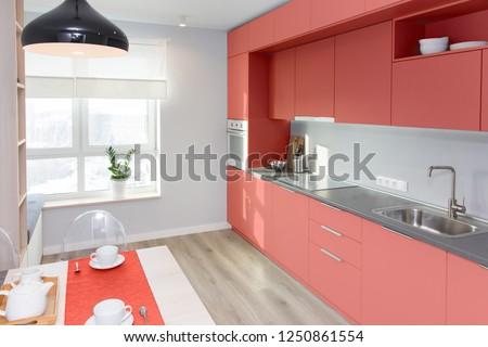 Kitchen Interior Light Colors Scandinavian Style Stock Photo Edit
