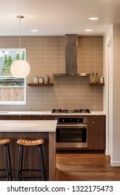Kitchen interior with lights on