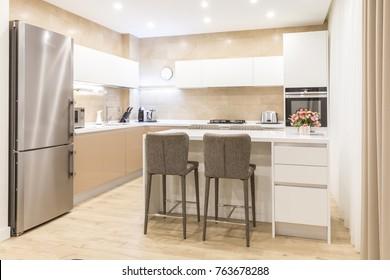 Kitchen interior in luxurious apartment, minimalism modern style