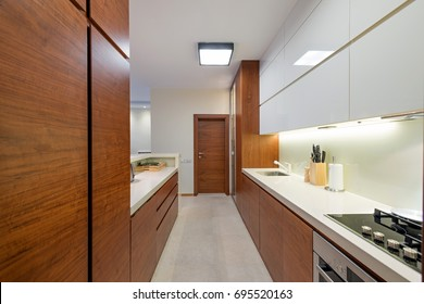 Kitchen interior in luxury apartment