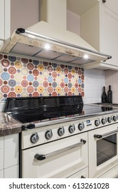 Kitchen interior with modern appliances, oven,gas stove,induction cooktop