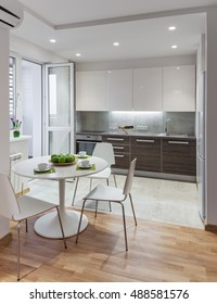 Kitchen interior in a new modern apartment in scandinavian style