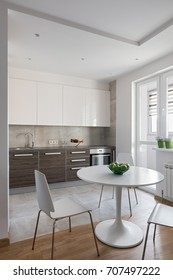 Kitchen interior in a new modern apartment in scandinavian style