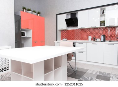 Kitchen Interior of the room in light colors. Mockup in colors of the year 2019 living coral